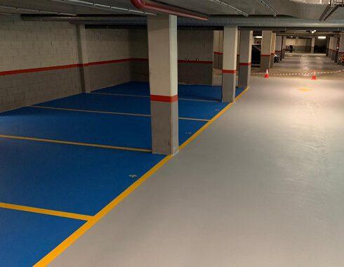 Multicapa epoxi base agua para sistema parking en Pivema